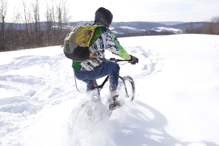 Chains will help you get through snow much deeper than you could ride in normally.