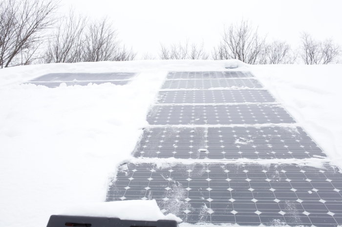 Cleaning off the solar panels is a morning ritual that most people never have to do.