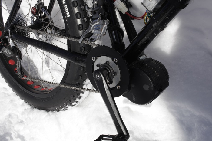 I kept the front derailer on as a chain guard to keep the chain from slipping off and jamming up between the chainring and the BBS02.