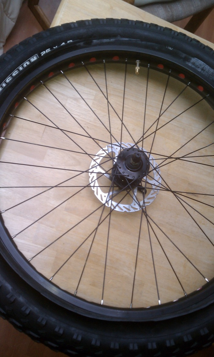 What the wheel looks like with the tube sticking out the sides