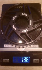 Much lighter than the stock chainring.