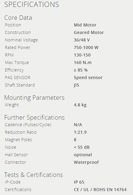 bafang bbshd specification sheet