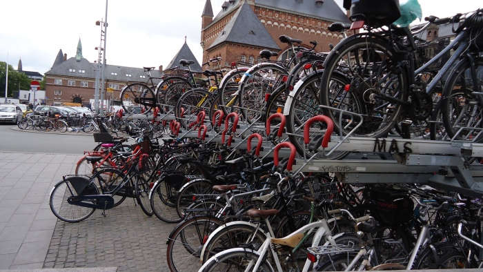 These ingenious double-decker bike racks double the amount of bikes you can store in a given space.