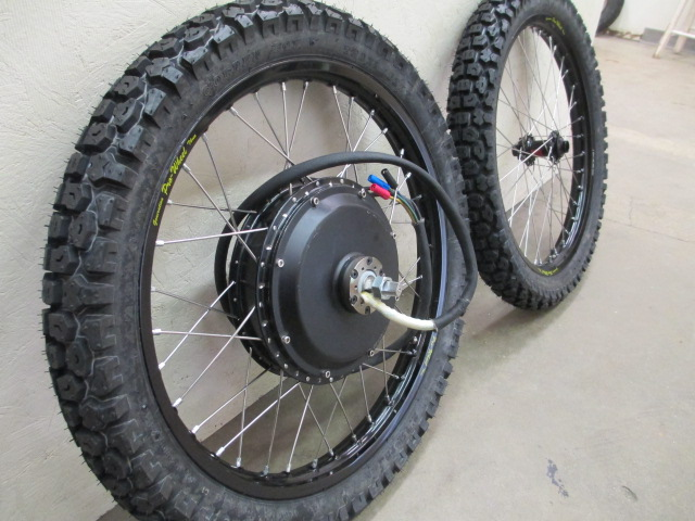 Notice the thicker spokes and nipples used on these motorcycle rims