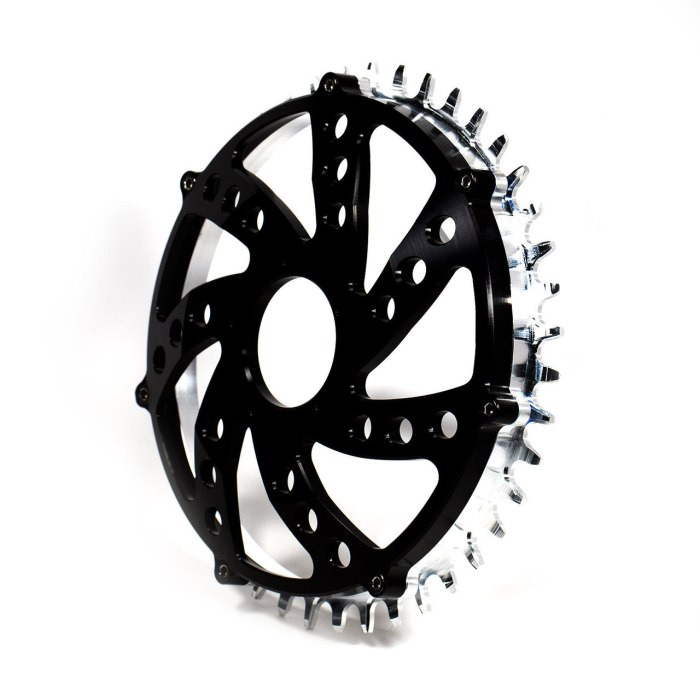 The chainring comes in two parts so the teeth are replaceable when they wear out.