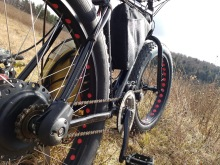 """A sneak peak of my newest build """"The Dark Side"""", a 3000W Cyclone trail bike paired with a N171 CVT."""