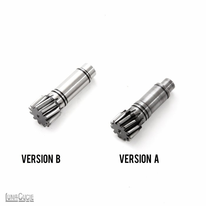 The pinion gear is also different between the different versions