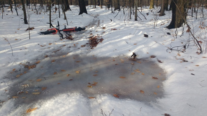 Wipeout on a large ice patch. If you only have a front studded tire it won't help you on the big patches.
