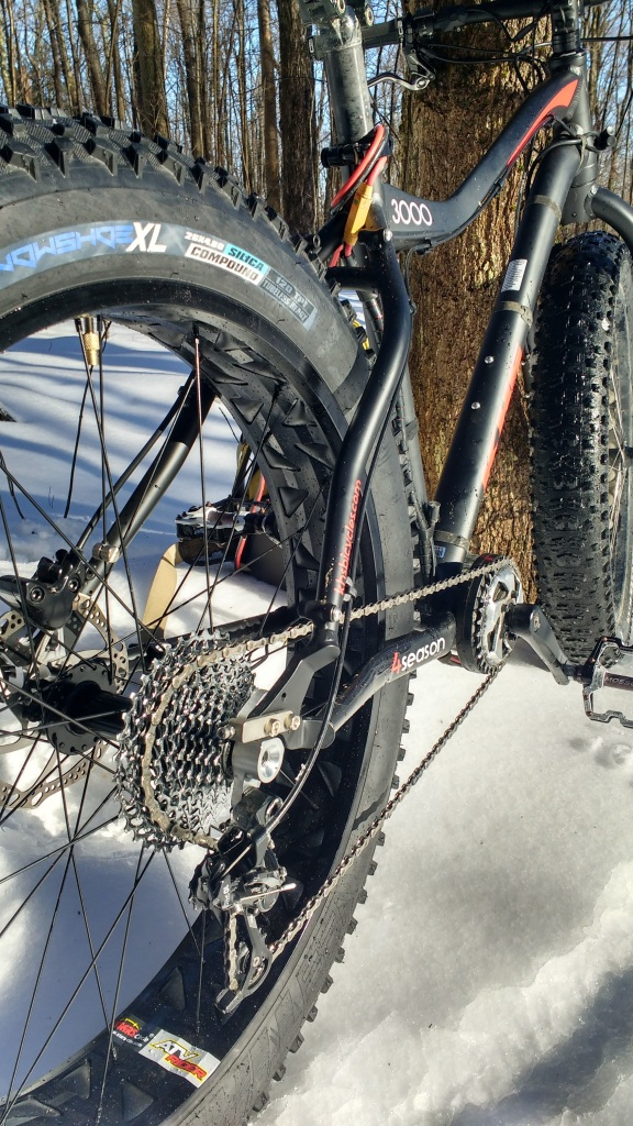The Snow Shoe XL came stock with the KHS 3000 which is the nicest fatbike I've ever purchased by a far margin