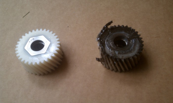 Nylon gears fail, you should always have some extra on hand