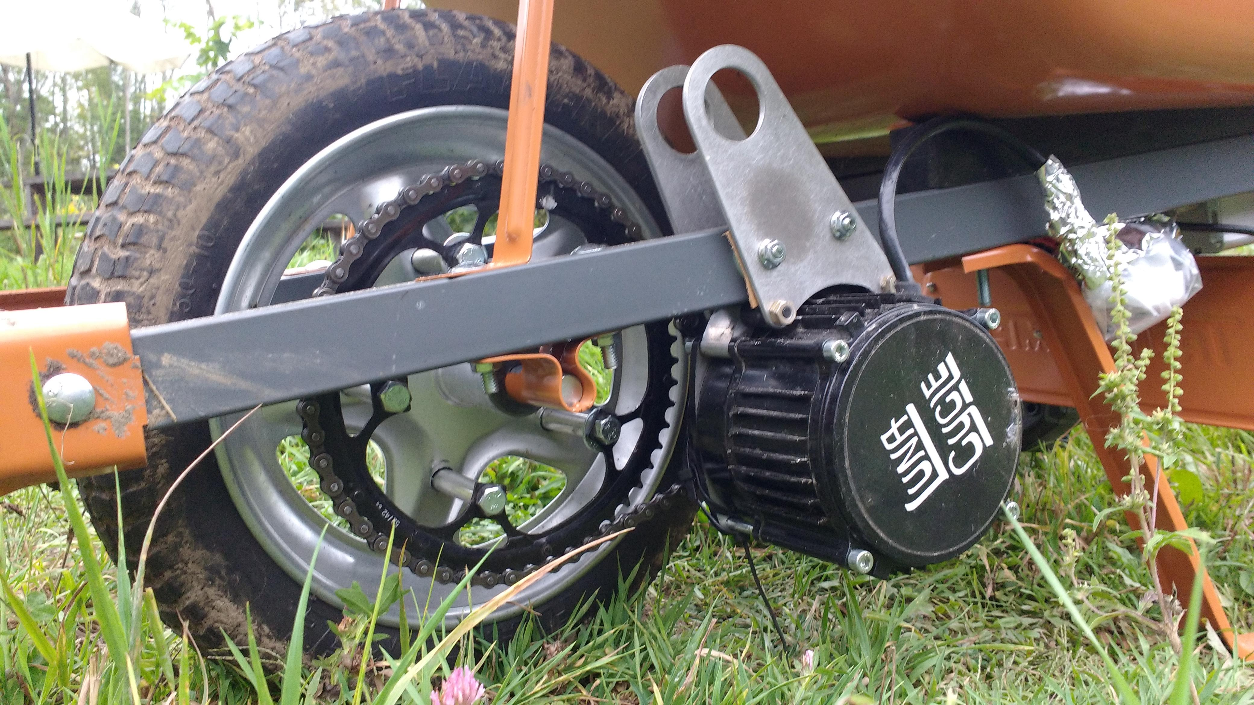 45a19aceded Because The Wifey Demands It : Build A 3000W Electric Wheelbarrow Out Of A  Cyclone Mid Drive Kit For ~$450